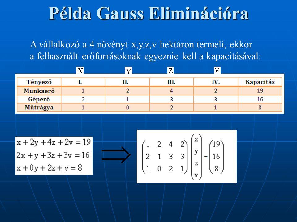 Példa Gauss Eliminációra A vállalkozó a 4 növényt x,y,z,v hektáron termeli, ekkor a felhasznált erőforrásoknak egyeznie kell a kapacitásával: