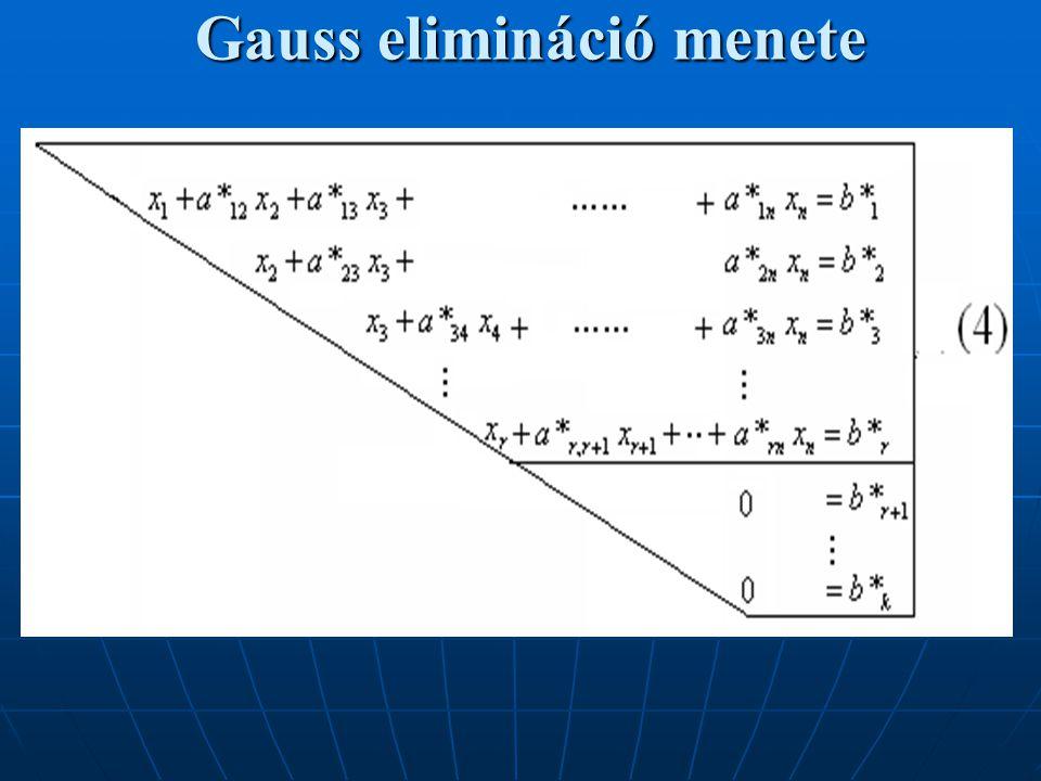 Példa Gauss eliminációra Határozzuk meg az alábbi egyenletrendszer megoldását: Az ismeretlenek együtthatóit és a jobboldali konstansokat az alábbi egyszerű alakba rendezzük: