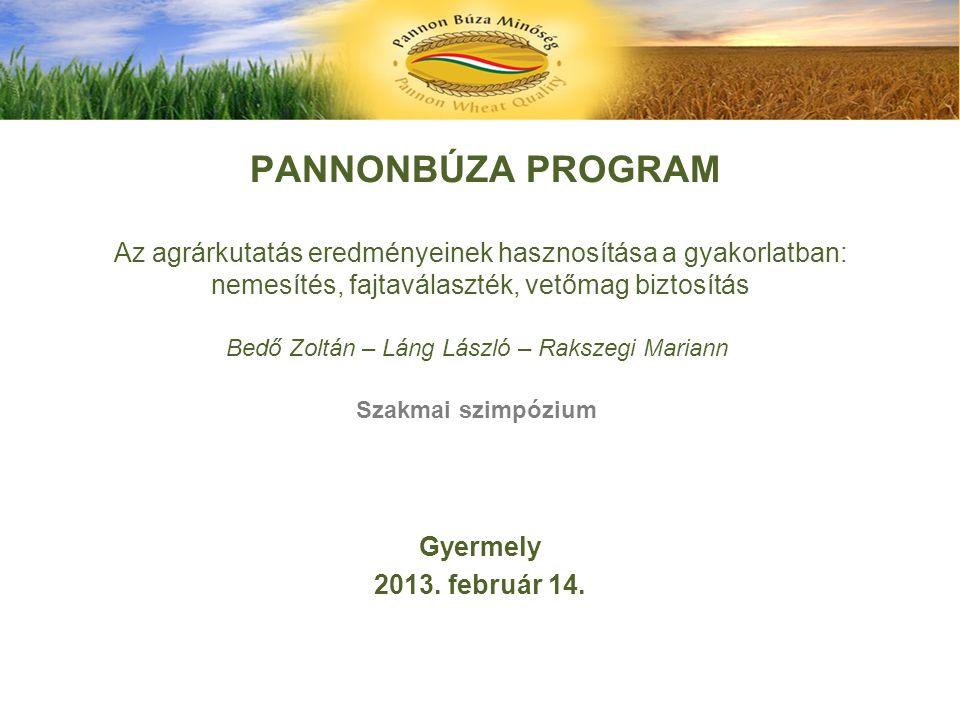 PANNONBÚZA PROGRAM Az agrárkutatás eredményeinek hasznosítása a gyakorlatban: nemesítés, fajtaválaszték, vetőmag biztosítás Bedő Zoltán – Láng László