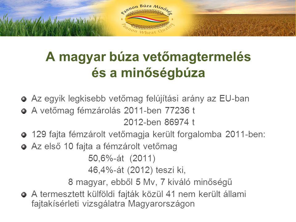 A magyar búza vetőmagtermelés és a minőségbúza Az egyik legkisebb vetőmag felújítási arány az EU-ban A vetőmag fémzárolás 2011-ben 77236 t 2012-ben 86
