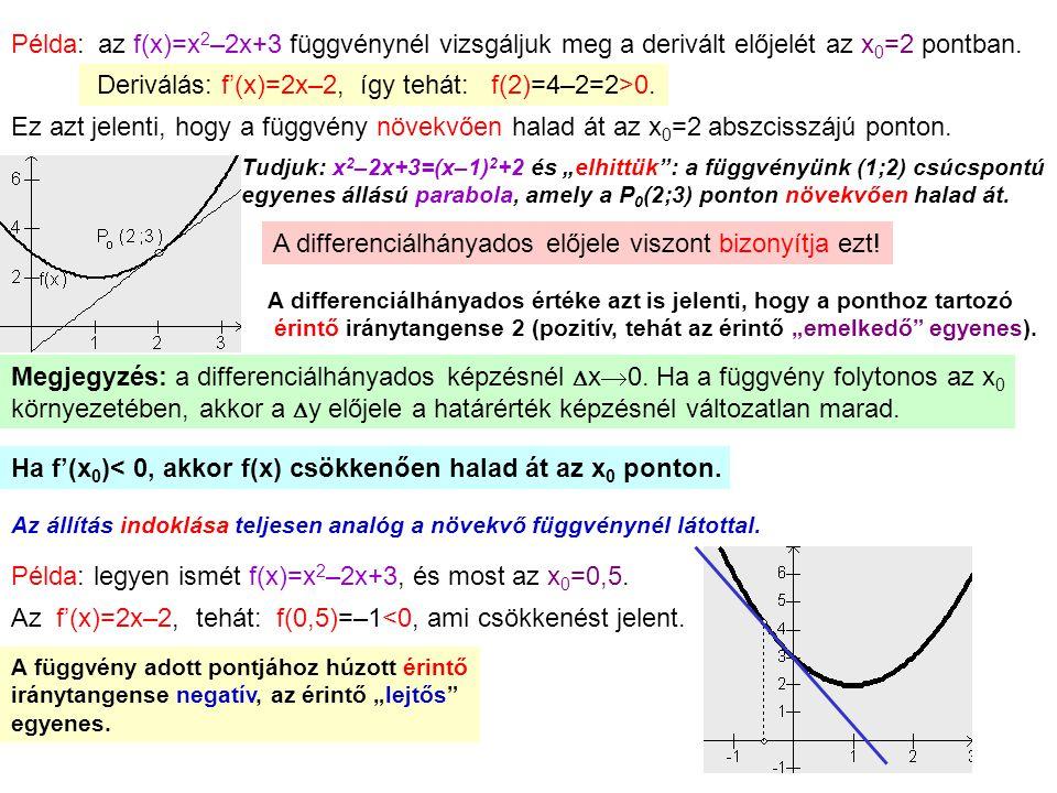 3 Példa:az f(x)=x 2 –2x+3 függvénynél vizsgáljuk meg a derivált előjelét az x 0 =2 pontban. Deriválás: f'(x)=2x–2, így tehát: f(2)=4–2=2>0. Ez azt jel