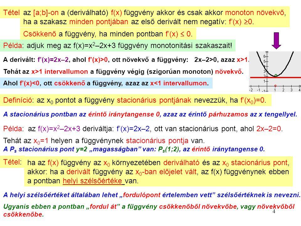 4 Tétel:az [a;b]-on a (deriválható) f(x) függvény akkor és csak akkor monoton növekvő, ha a szakasz minden pontjában az első derivált nem negatív: f'(