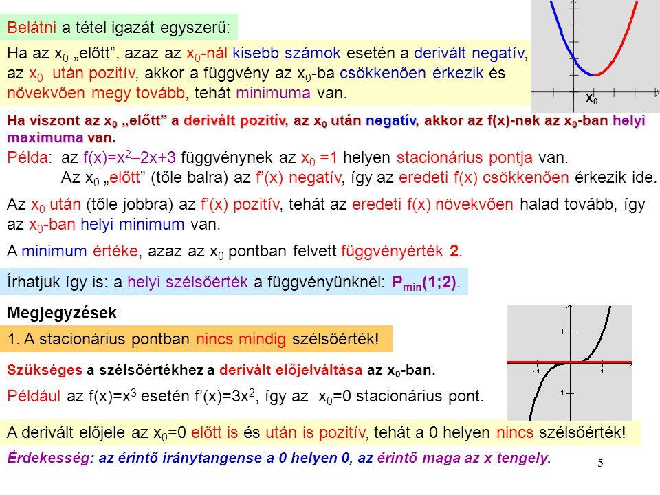 """5 Belátni a tétel igazát egyszerű: Ha az x0 x0 """"előtt"""", azaz az x 0 -nál kisebb számok esetén a derivált negatív, az x 0 után pozitív, akkor a függvén"""
