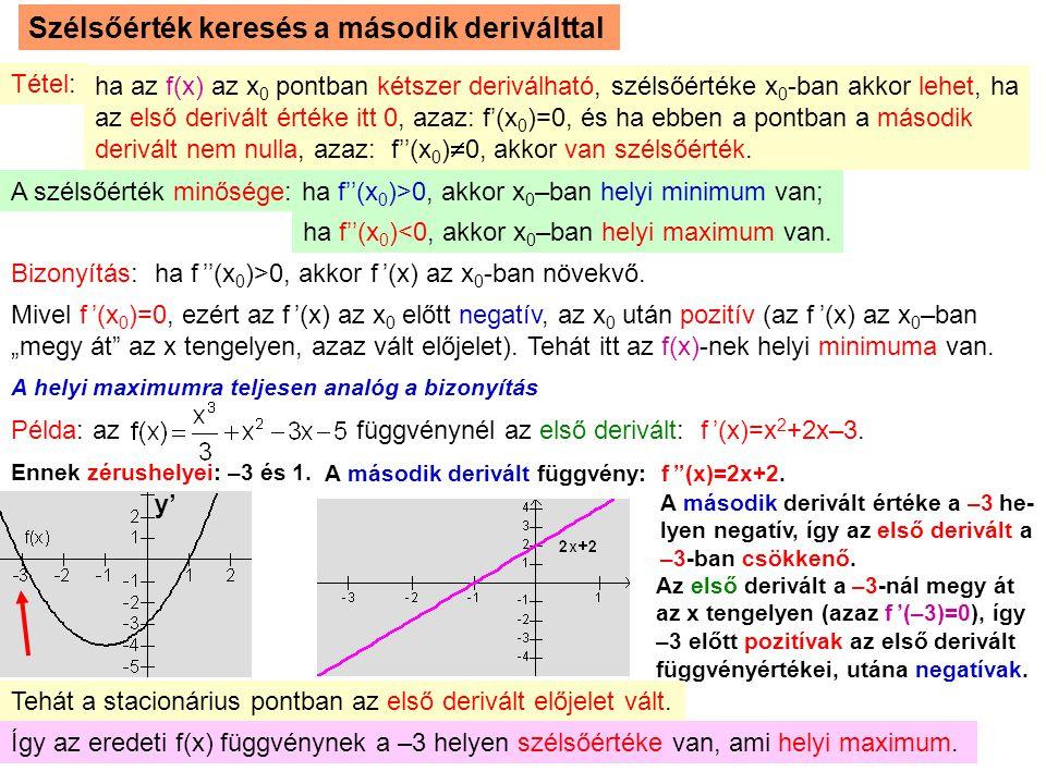 7 Szélsőérték keresés a második deriválttal Tétel: ha az f(x) az x0 x0 pontban kétszer deriválható, szélsőértéke x 0 -ban akkor lehet, ha az első deri