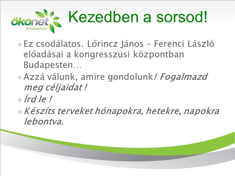 2010. 9. 8. Kezedben a sorsod!  Ez csodálatos. Lőrincz János – Ferenci László előadásai a kongresszusi központban Budapesten…  Azzá válunk, amire go