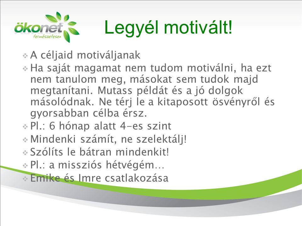 2010. 9. 8. Legyél motivált!  A céljaid motiváljanak  Ha saját magamat nem tudom motiválni, ha ezt nem tanulom meg, másokat sem tudok majd megtaníta