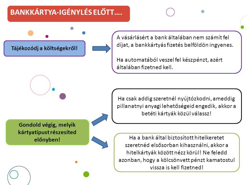 BANKKÁRTYA-IGÉNYLÉS ELŐTT…. A vásárlásért a bank általában nem számít fel díjat, a bankkártyás fizetés belföldön ingyenes. Ha automatából veszel fel k