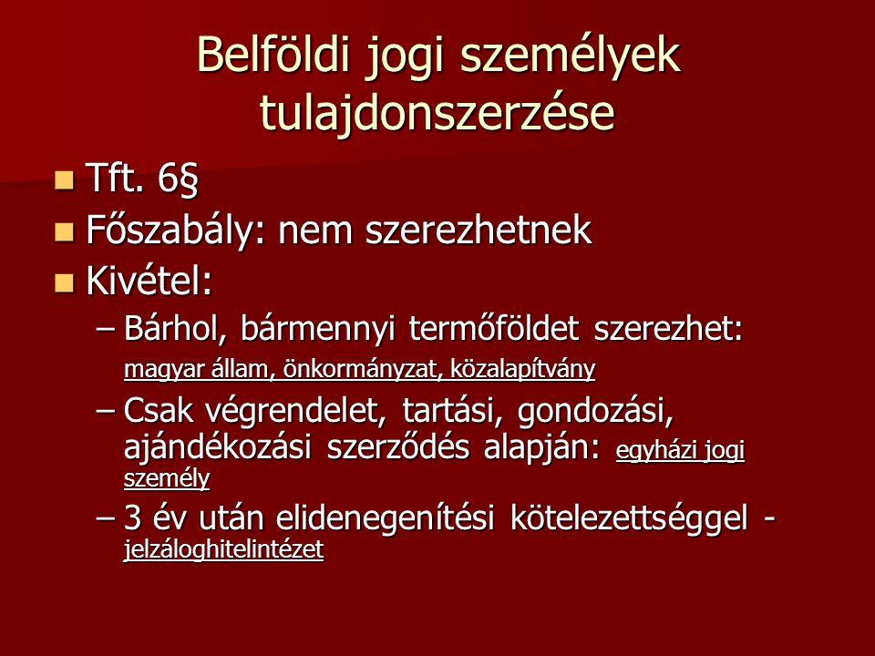 Belföldi jogi személyek tulajdonszerzése  Tft. 6§  Főszabály: nem szerezhetnek  Kivétel: –Bárhol, bármennyi termőföldet szerezhet: magyar állam, ön