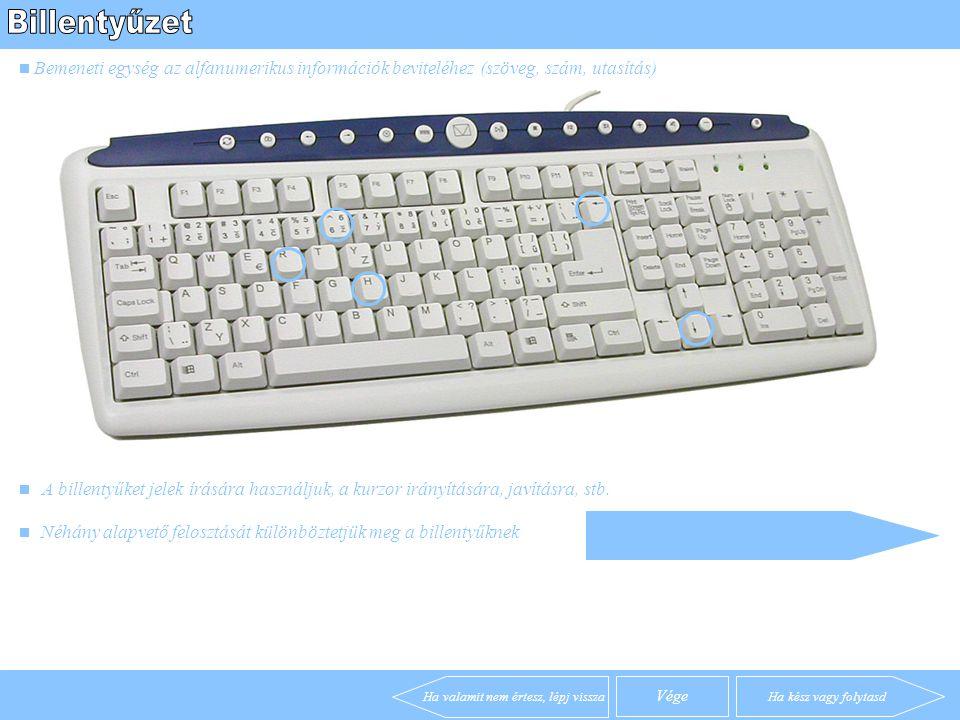 Billentyűzet A számítógép egy digitális berendezés adatok feldolgozására. Ehhez való kommunikációhoz különféle segédeszközöket kapcsolunk hozzá. Egér