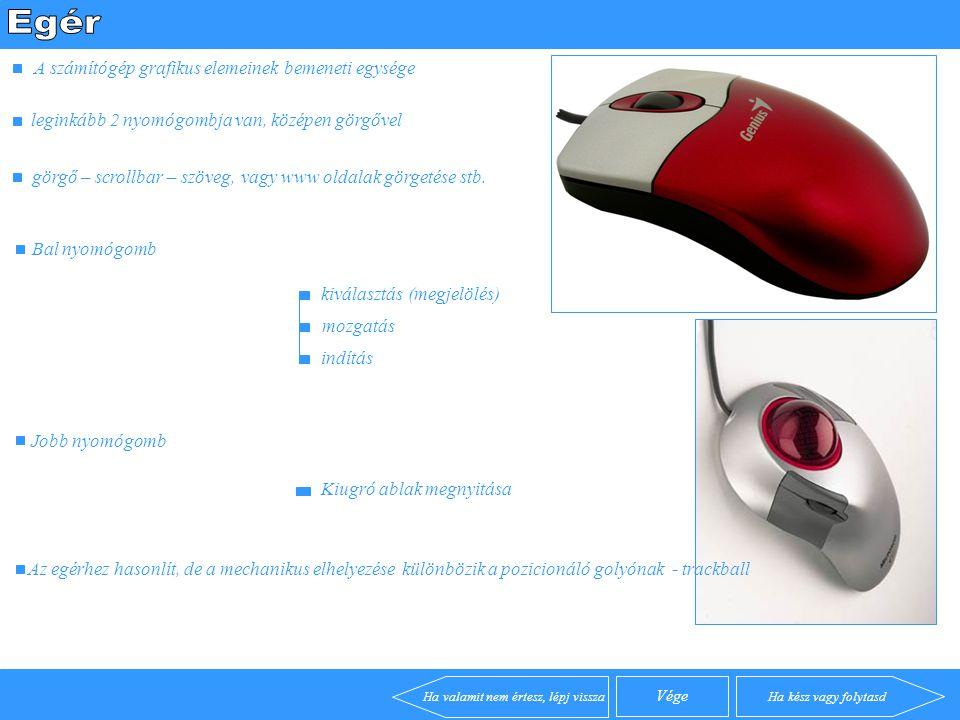 A számítógép grafikus elemeinek bemeneti egysége leginkább 2 nyomógombja van, középen görgővel Az egérhez hasonlít, de a mechanikus elhelyezése különbözik a pozicionáló golyónak - trackball görgő – scrollbar – szöveg, vagy www oldalak görgetése stb.