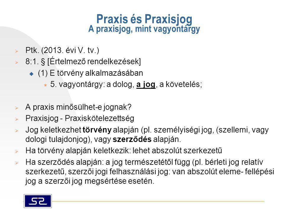 Praxis és Praxisjog A praxisjog, mint vagyontárgy  Ptk. (2013. évi V. tv.)  8:1. § [Értelmező rendelkezések]  (1) E törvény alkalmazásában  5. vag