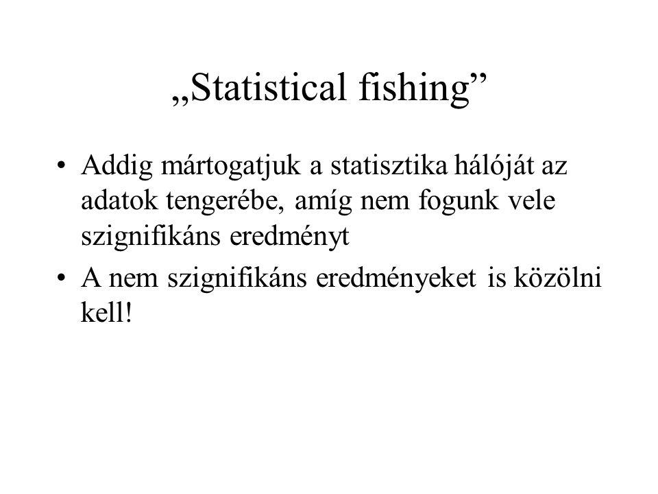"""""""Statistical fishing •Addig mártogatjuk a statisztika hálóját az adatok tengerébe, amíg nem fogunk vele szignifikáns eredményt •A nem szignifikáns eredményeket is közölni kell!"""