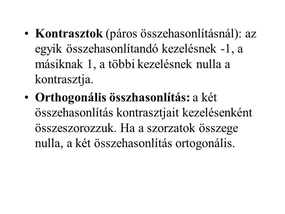 •Kontrasztok (páros összehasonlításnál): az egyik összehasonlítandó kezelésnek -1, a másiknak 1, a többi kezelésnek nulla a kontrasztja.