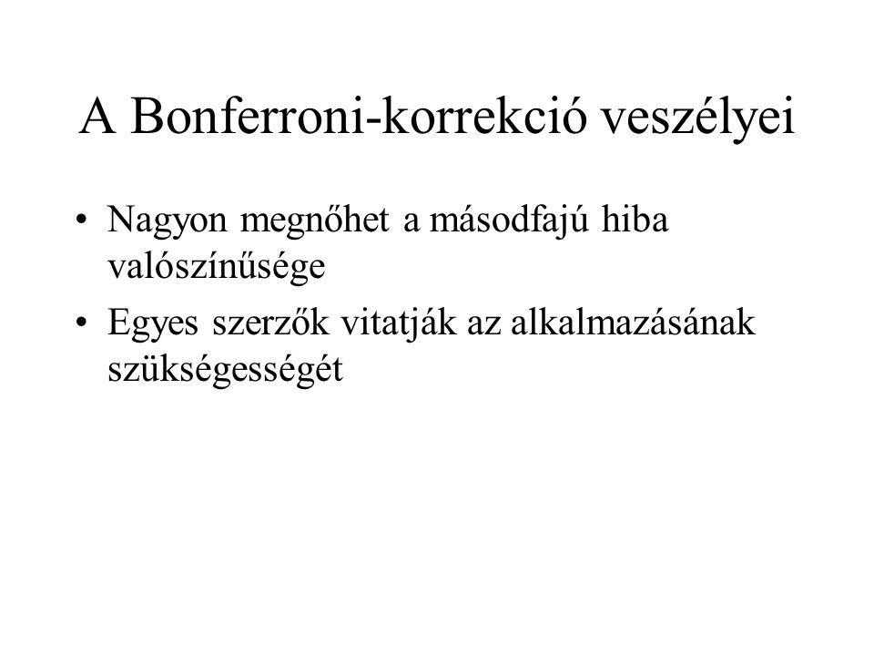 A Bonferroni-korrekció veszélyei •Nagyon megnőhet a másodfajú hiba valószínűsége •Egyes szerzők vitatják az alkalmazásának szükségességét