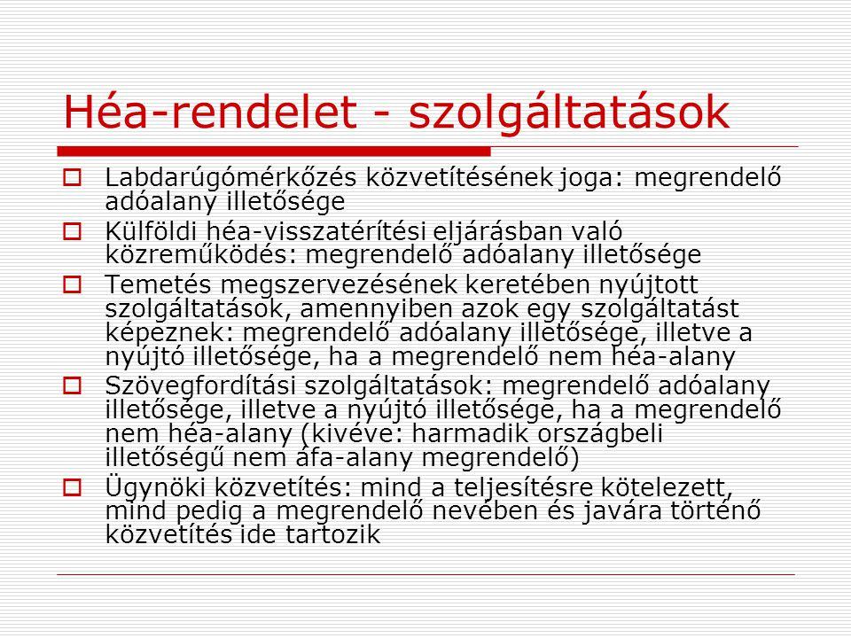 Héa-rendelet - szolgáltatások  Labdarúgómérkőzés közvetítésének joga: megrendelő adóalany illetősége  Külföldi héa-visszatérítési eljárásban való kö