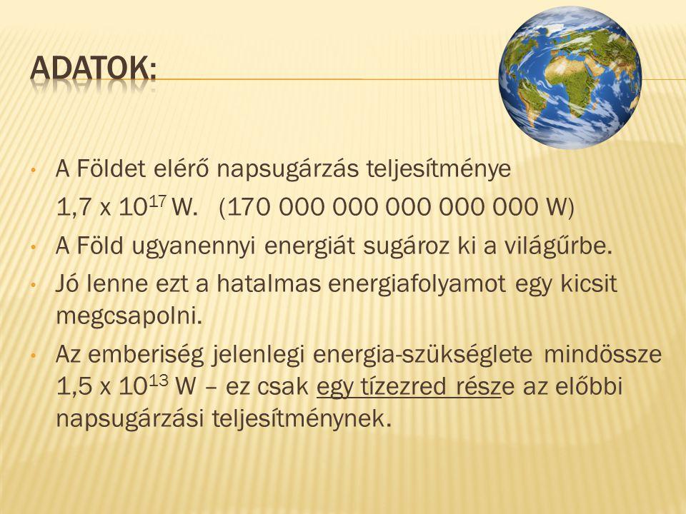 • A Földet elérő napsugárzás teljesítménye 1,7 x 10 17 W.