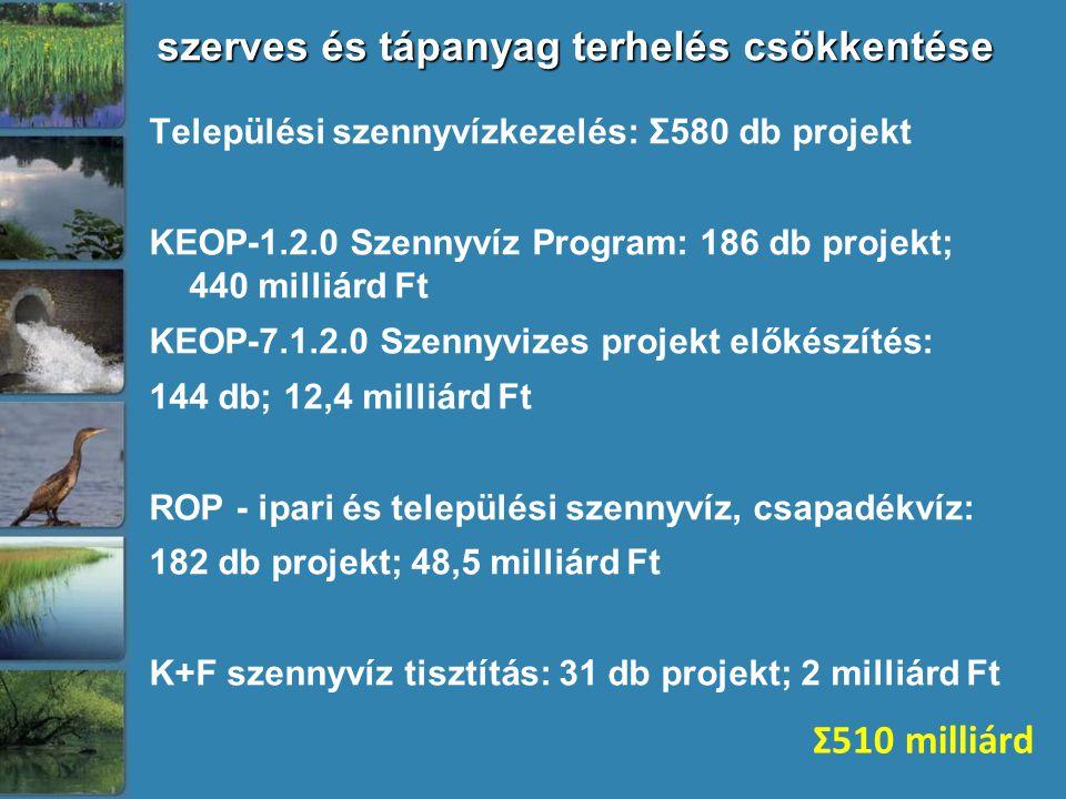 szerves és tápanyag terhelés csökkentése Települési szennyvízkezelés: Σ580 db projekt KEOP-1.2.0 Szennyvíz Program: 186 db projekt; 440 milliárd Ft KEOP-7.1.2.0 Szennyvizes projekt előkészítés: 144 db; 12,4 milliárd Ft ROP - ipari és települési szennyvíz, csapadékvíz: 182 db projekt; 48,5 milliárd Ft K+F szennyvíz tisztítás: 31 db projekt; 2 milliárd Ft Σ510 milliárd