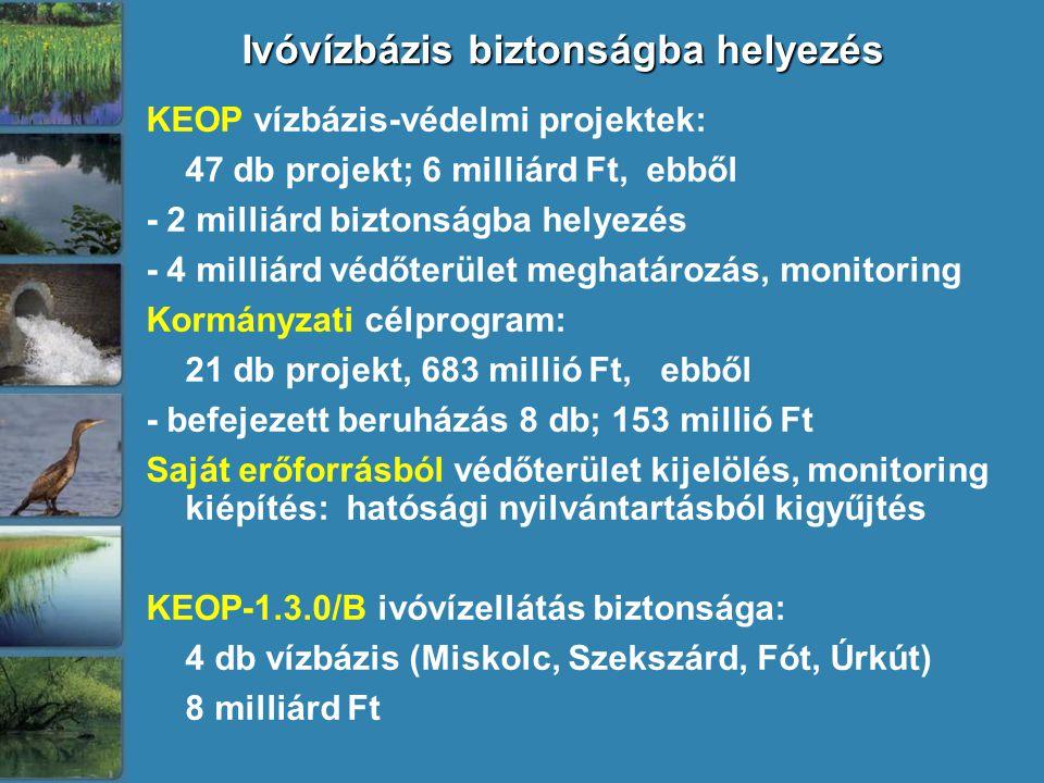 Ivóvízbázis biztonságba helyezés KEOP vízbázis-védelmi projektek: 47 db projekt; 6 milliárd Ft, ebből - 2 milliárd biztonságba helyezés - 4 milliárd védőterület meghatározás, monitoring Kormányzati célprogram: 21 db projekt, 683 millió Ft, ebből - befejezett beruházás 8 db; 153 millió Ft Saját erőforrásból védőterület kijelölés, monitoring kiépítés: hatósági nyilvántartásból kigyűjtés KEOP-1.3.0/B ivóvízellátás biztonsága: 4 db vízbázis (Miskolc, Szekszárd, Fót, Úrkút) 8 milliárd Ft