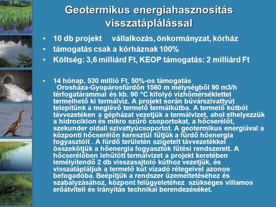 Geotermikus energiahasznosítás visszatáplálással •10 db projekt vállalkozás, önkormányzat, kórház •támogatás csak a kórháznak 100% •Költség: 3,6 milliárd Ft, KEOP támogatás: 2 milliárd Ft •14 hónap, 530 millió Ft, 50%-os támogatás Orosháza-Gyopárosfürdőn 1560 m mélységből 90 m3/h térfogatárammal és kb.