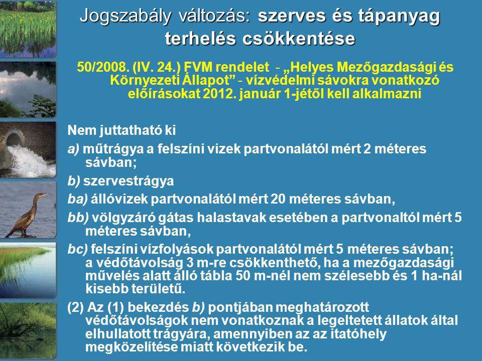 """Jogszabály változás: szerves és tápanyag terhelés csökkentése 50/2008. (IV. 24.) FVM rendelet - """"Helyes Mezőgazdasági és Környezeti Állapot"""" - vízvéde"""
