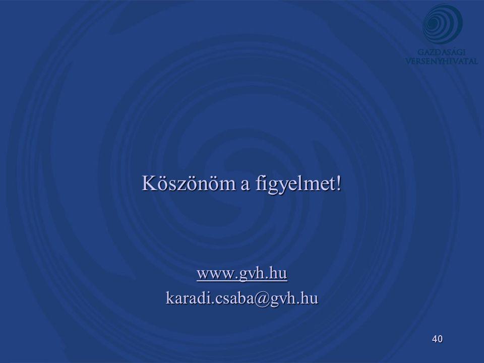 40 Köszönöm a figyelmet! www.gvh.hu karadi.csaba@gvh.hu