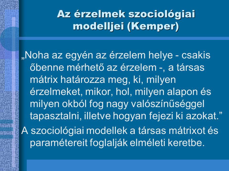 """Az érzelmek szociológiai modelljei (Kemper) """"Noha az egyén az érzelem helye - csakis őbenne mérhető az érzelem -, a társas mátrix határozza meg, ki, m"""