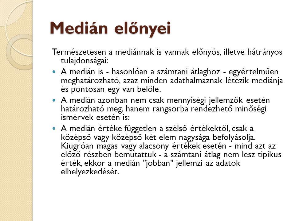 Medián előnyei Természetesen a mediánnak is vannak előnyös, illetve hátrányos tulajdonságai:  A medián is - hasonlóan a számtani átlaghoz - egyértelm