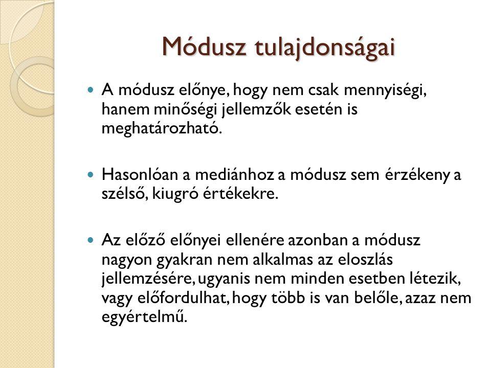 Módusz tulajdonságai  A módusz előnye, hogy nem csak mennyiségi, hanem minőségi jellemzők esetén is meghatározható.  Hasonlóan a mediánhoz a módusz