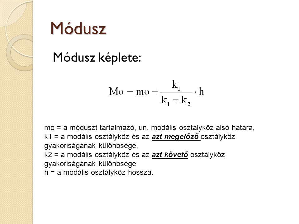 Módusz Módusz képlete: mo = a móduszt tartalmazó, un. modális osztályköz alsó határa, k1 = a modális osztályköz és az azt megelőző osztályköz gyakoris