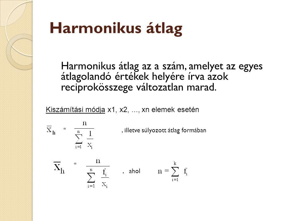 Harmonikus átlag Harmonikus átlag az a szám, amelyet az egyes átlagolandó értékek helyére írva azok reciprokösszege változatlan marad. Kiszámítási mód