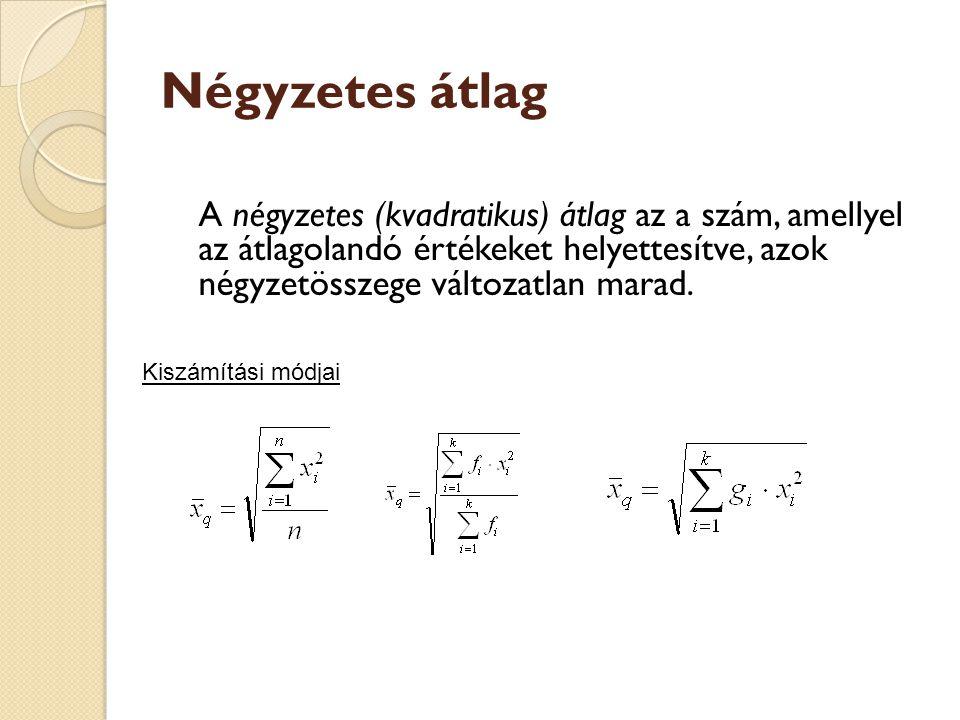 Négyzetes átlag A négyzetes (kvadratikus) átlag az a szám, amellyel az átlagolandó értékeket helyettesítve, azok négyzetösszege változatlan marad. Kis