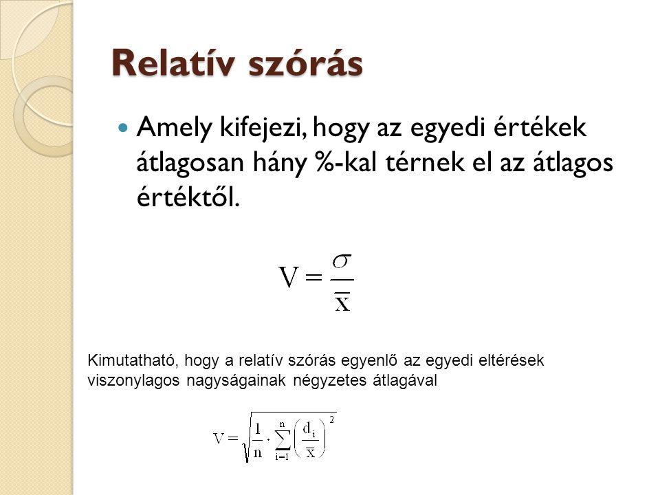 Relatív szórás  Amely kifejezi, hogy az egyedi értékek átlagosan hány %-kal térnek el az átlagos értéktől. Kimutatható, hogy a relatív szórás egyenlő