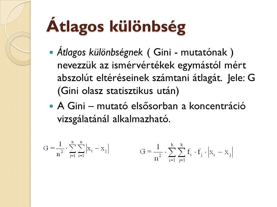 Átlagos különbség  Átlagos különbségnek ( Gini - mutatónak ) nevezzük az ismérvértékek egymástól mért abszolút eltéréseinek számtani átlagát. Jele: G