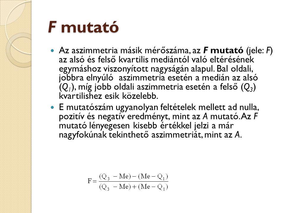 F mutató  Az aszimmetria másik mérőszáma, az F mutató (jele: F) az alsó és felső kvartilis mediántól való eltérésének egymáshoz viszonyított nagyságá