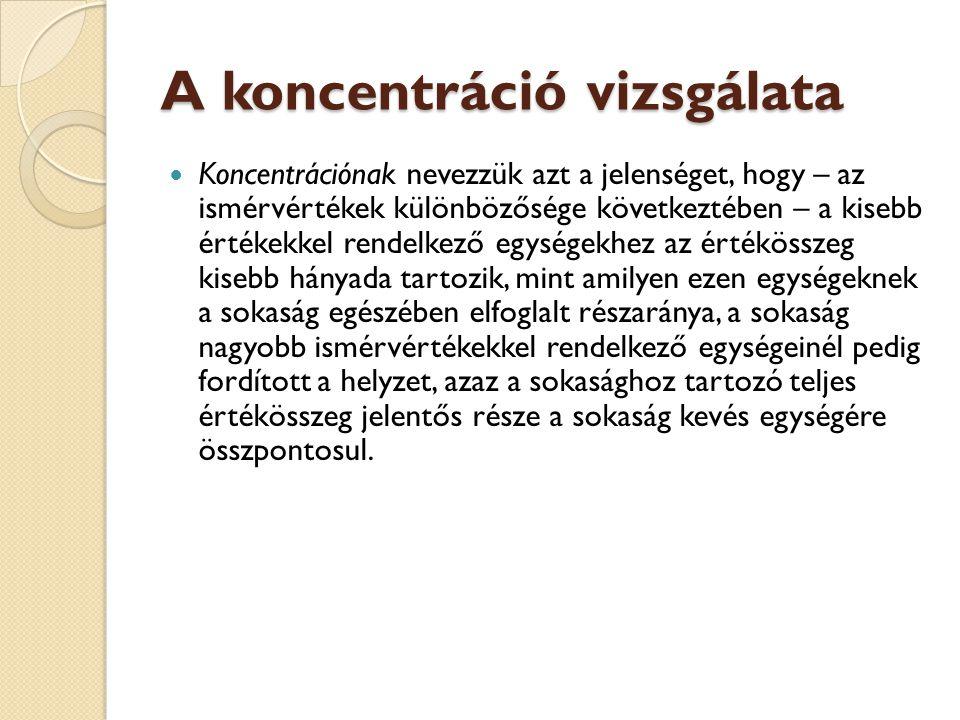 A koncentráció vizsgálata  Koncentrációnak nevezzük azt a jelenséget, hogy – az ismérvértékek különbözősége következtében – a kisebb értékekkel rende