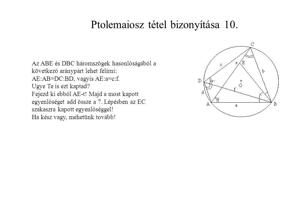 Ptolemaiosz tétel bizonyítása 10.