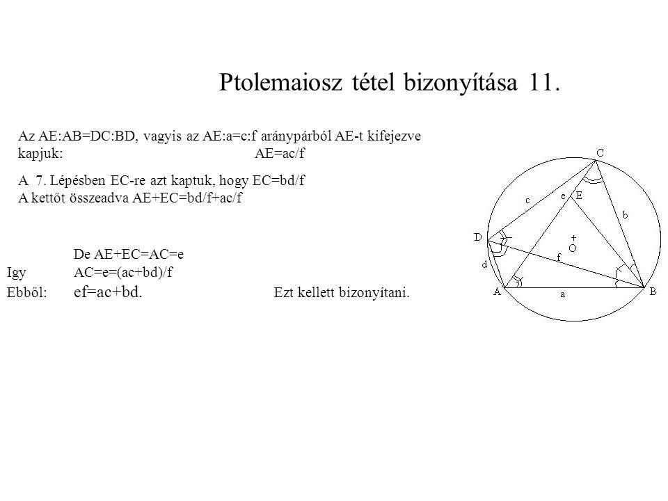 Ptolemaiosz tétel bizonyítása 11.