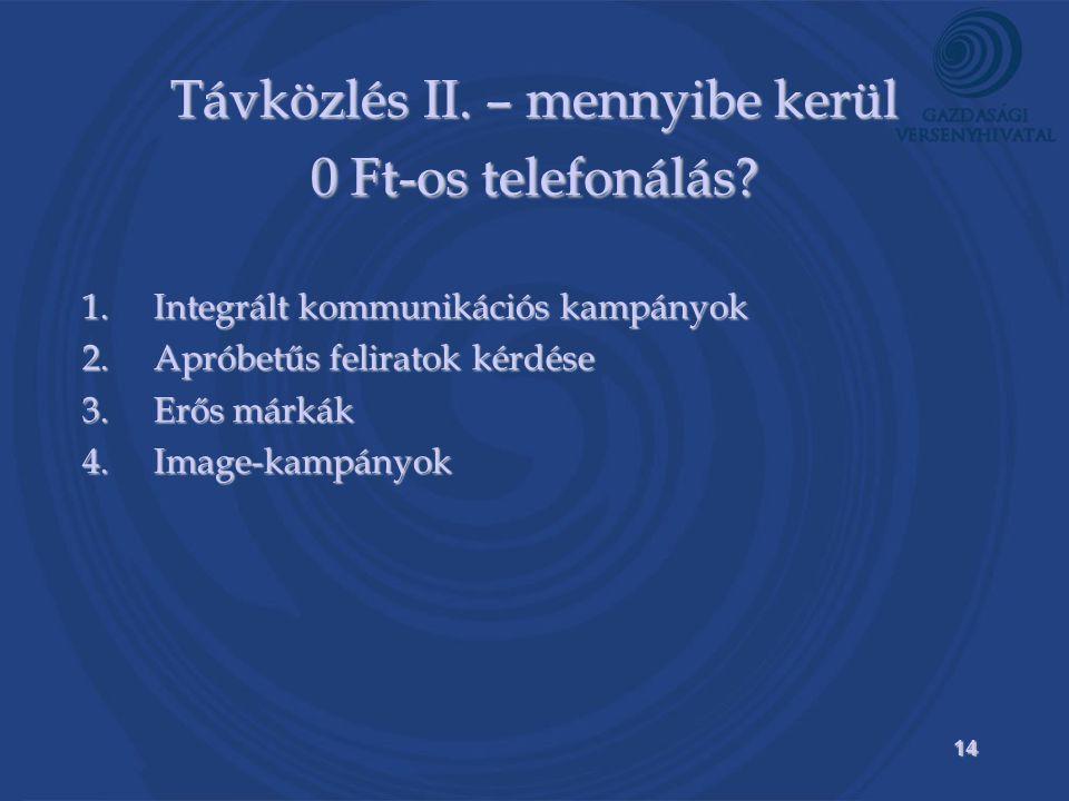 14 Távközlés II. – mennyibe kerül 0 Ft-os telefonálás.