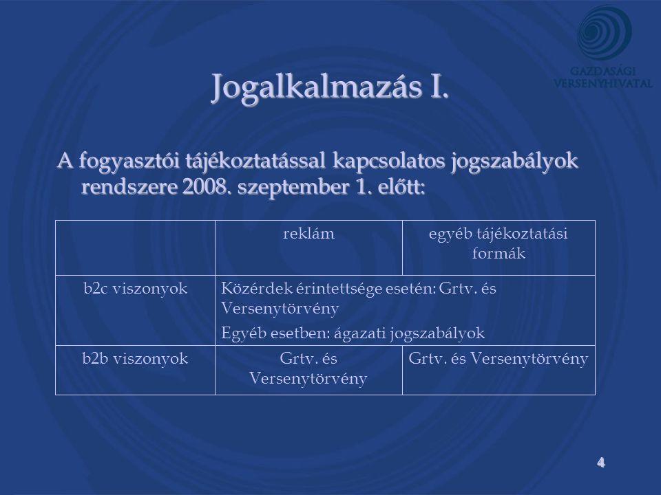 4 Jogalkalmazás I. A fogyasztói tájékoztatással kapcsolatos jogszabályok rendszere 2008.