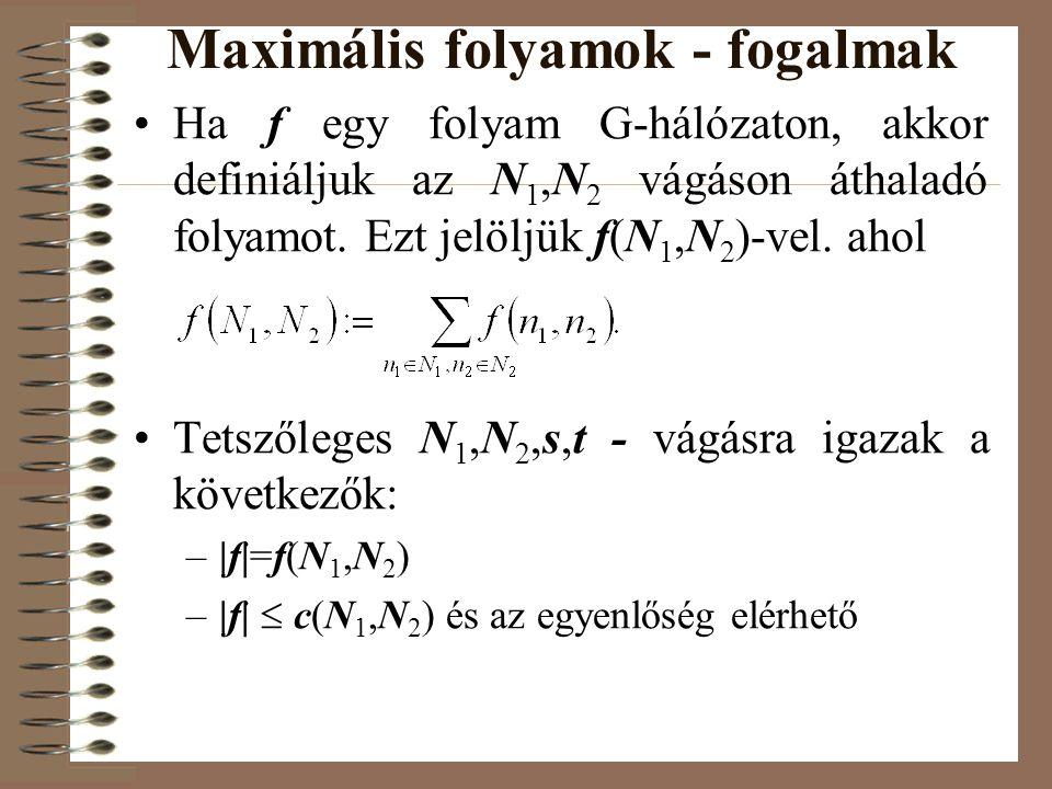 Maximális folyamok - fogalmak •Ha f egy folyam G-hálózaton, akkor definiáljuk az N 1,N 2 vágáson áthaladó folyamot. Ezt jelöljük f(N 1,N 2 )-vel. ahol