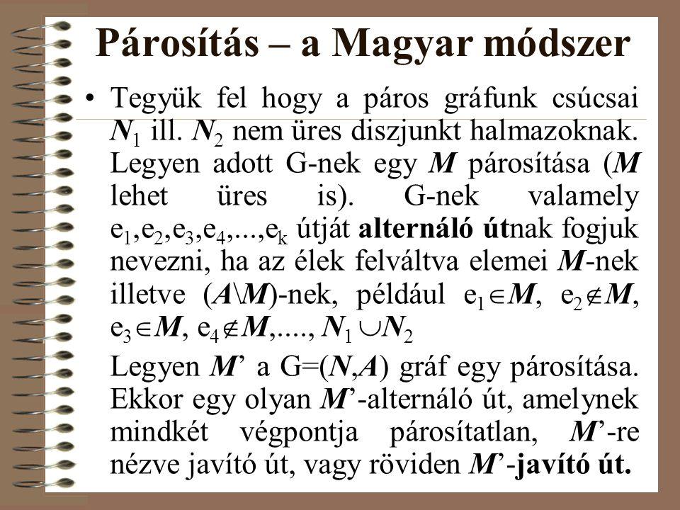 Párosítás – a Magyar módszer •Tegyük fel hogy a páros gráfunk csúcsai N 1 ill. N 2 nem üres diszjunkt halmazoknak. Legyen adott G-nek egy M párosítása