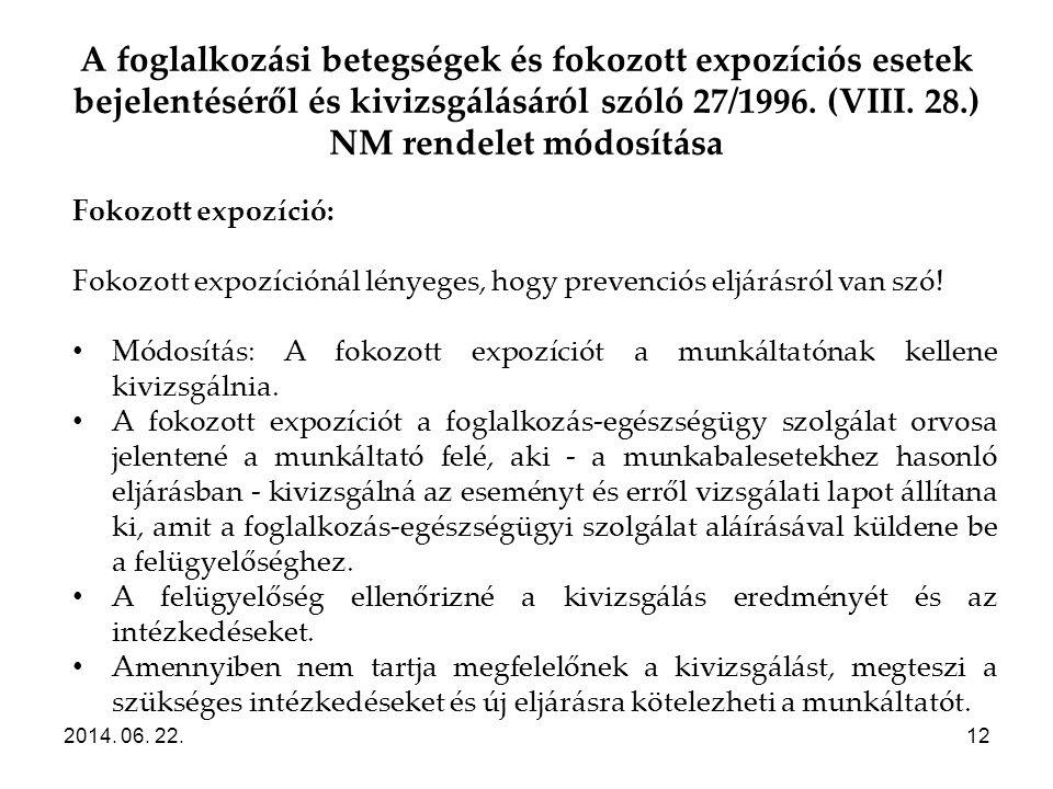 A foglalkozási betegségek és fokozott expozíciós esetek bejelentéséről és kivizsgálásáról szóló 27/1996. (VIII. 28.) NM rendelet módosítása 2014. 06.