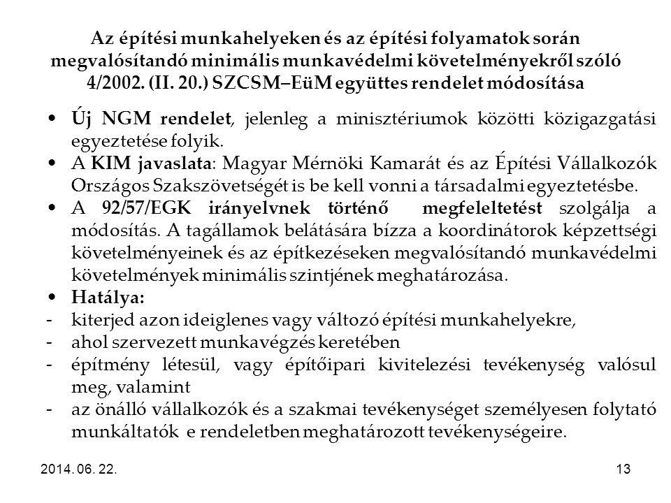 Az építési munkahelyeken és az építési folyamatok során megvalósítandó minimális munkavédelmi követelményekről szóló 4/2002. (II. 20.) SZCSM–EüM együt
