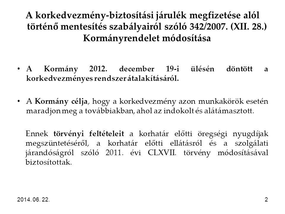 2014. 06. 22.2 A korkedvezmény-biztosítási járulék megfizetése alól történő mentesítés szabályairól szóló 342/2007. (XII. 28.) Kormányrendelet módosít