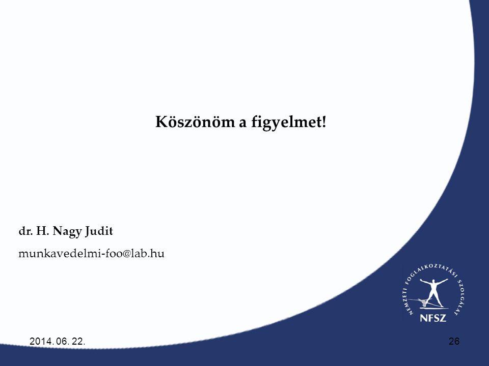 2014. 06. 22.26 Köszönöm a figyelmet! dr. H. Nagy Judit munkavedelmi-foo@lab.hu