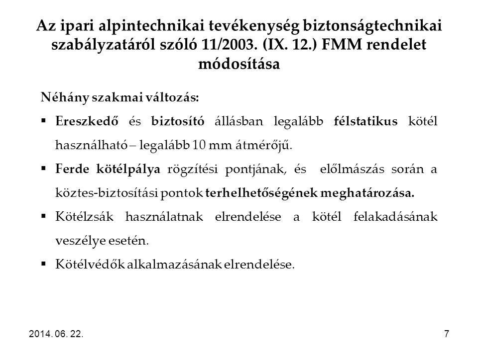 Az ipari alpintechnikai tevékenység biztonságtechnikai szabályzatáról szóló 11/2003. (IX. 12.) FMM rendelet módosítása 2014. 06. 22.7 Néhány szakmai v