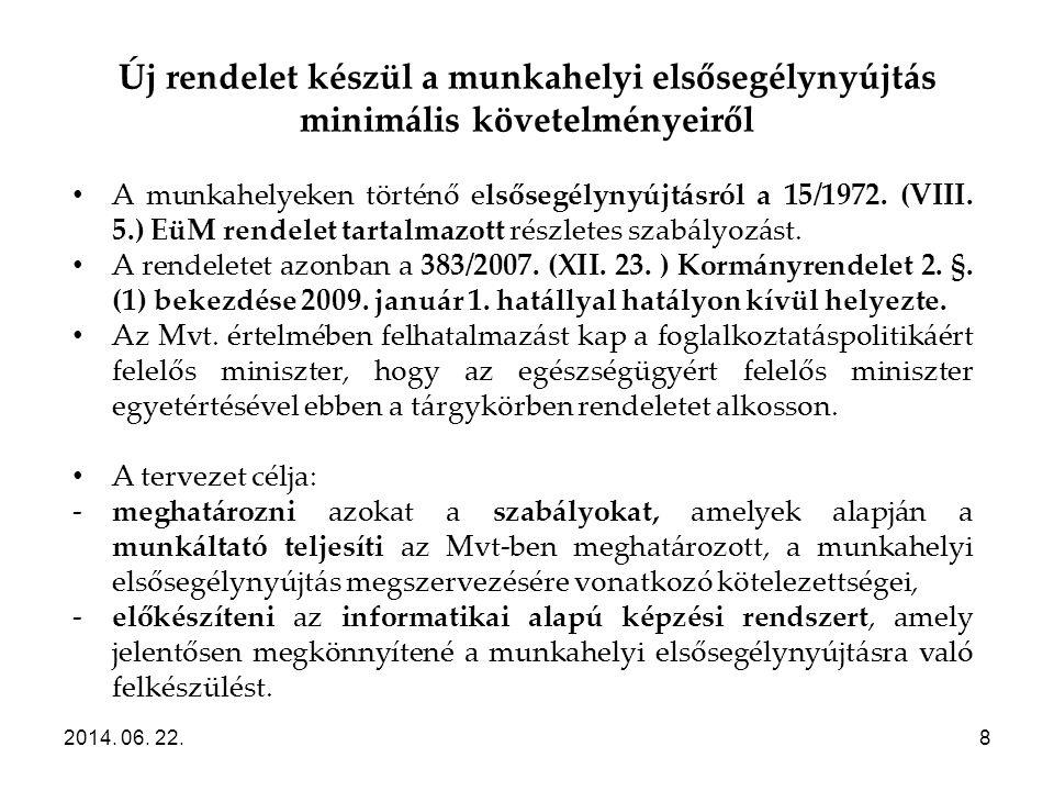 Új rendelet készül a munkahelyi elsősegélynyújtás minimális követelményeiről 2014. 06. 22.8 • A munkahelyeken történő elsősegélynyújtásról a 15/1972.