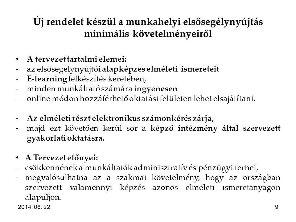Új rendelet készül a munkahelyi elsősegélynyújtás minimális követelményeiről 2014. 06. 22.9 • A tervezet tartalmi elemei: -az elsősegélynyújtói alapké