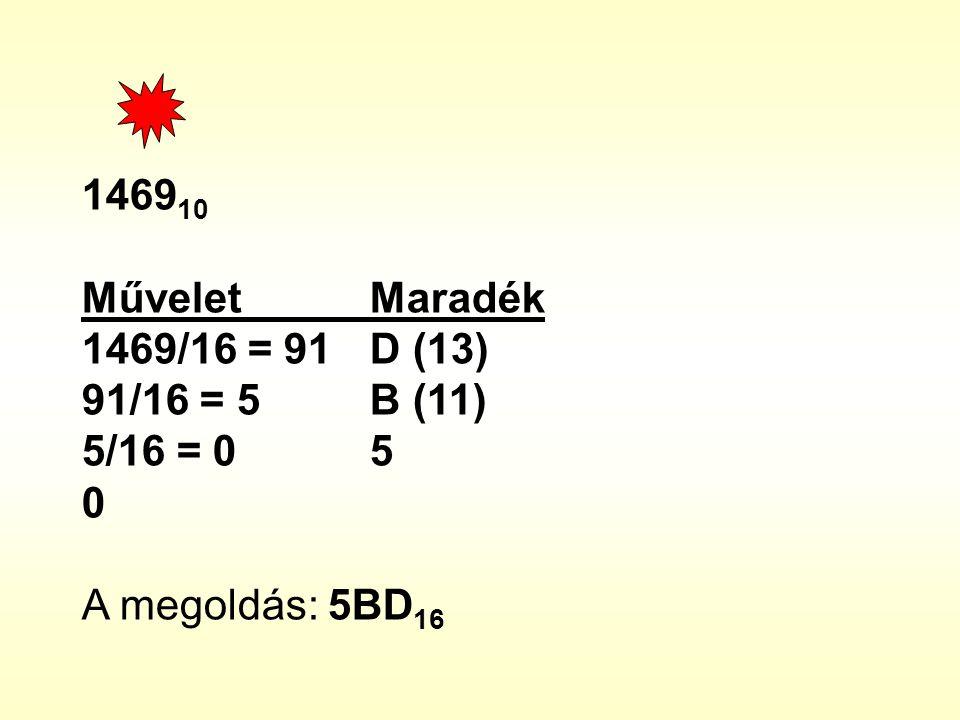 1469 10 Művelet Maradék 1469/16 = 91 D (13) 91/16 = 5 B (11) 5/16 = 0 5 0 A megoldás: 5BD 16