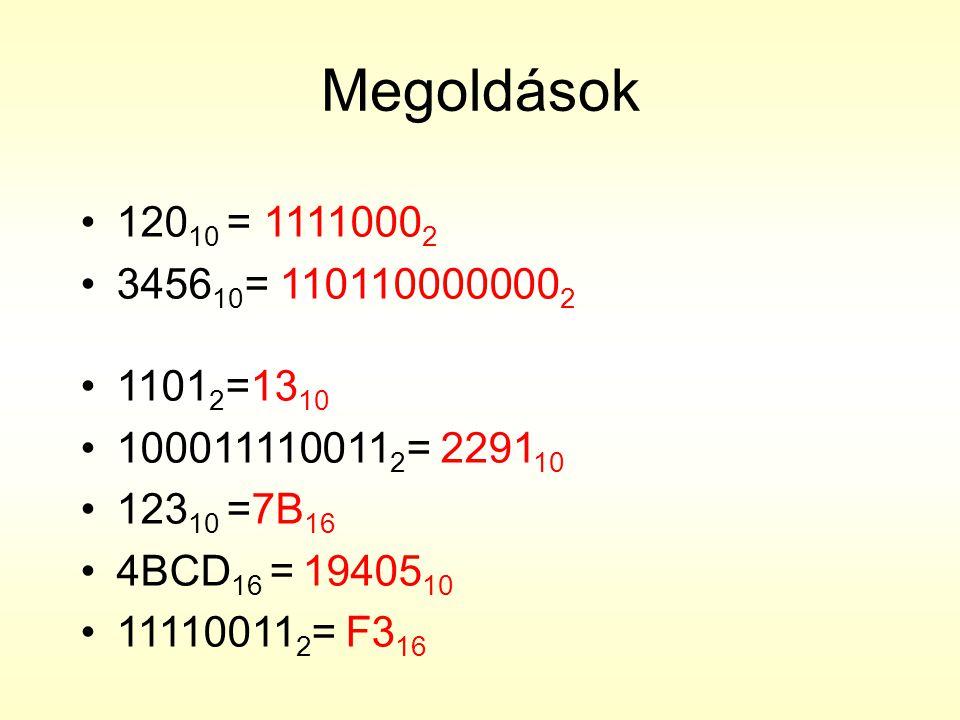 Megoldások •120 10 = 1111000 2 •3456 10 = 110110000000 2 •1101 2 =13 10 •100011110011 2 = 2291 10 •123 10 =7B 16 •4BCD 16 = 19405 10 •11110011 2 = F3